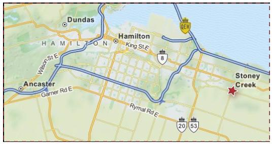 Stoney Creek Ontario Service Map